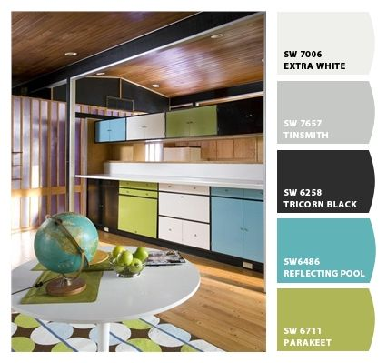 Mondrian cabinets from Our Care-free Home in green, blue, black and white (Paint  colors from Chip It! by Sherwin-Williams)