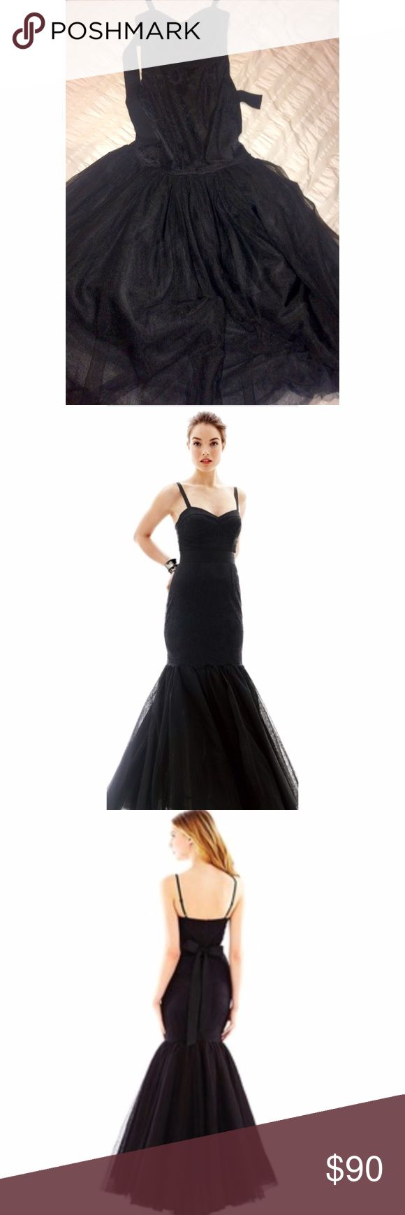 Pearl Georgina Chapman of Marchesa mermaid dress Black mermaid gown with chic lace and a big beautiful tulle. It has been only worn once and it has been dry cleaned. Dresses Strapless