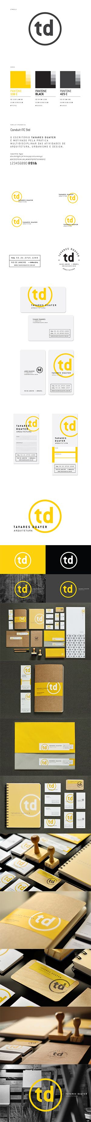 Designer: Tayaras Quater. I pinned this as an example of a ton of identity applications. I like the simple td wordmark too.