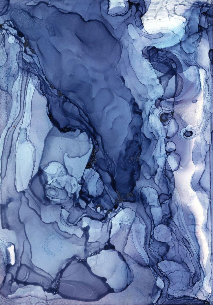 "Andrea Pramuk Blueline No. 5, alcohol inks on Claybord, 3.5""x5"", 2012 www.andreapramuk.com #blue"