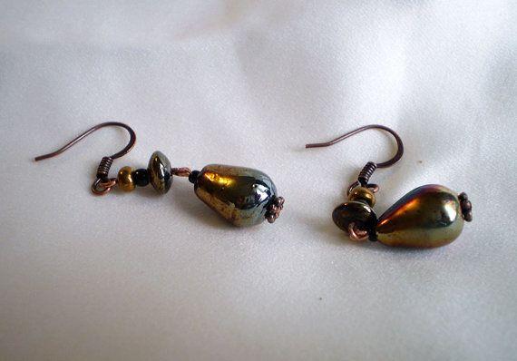 Copper porcelain drop earrings by EachBeadCounts on Etsy