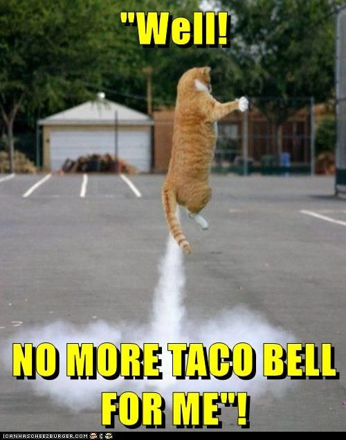 """Well!  NO MORE TACO BELL FOR ME""!"