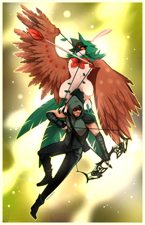 Decidueye & Green Arrow - http://momo-deary.tumblr.com/