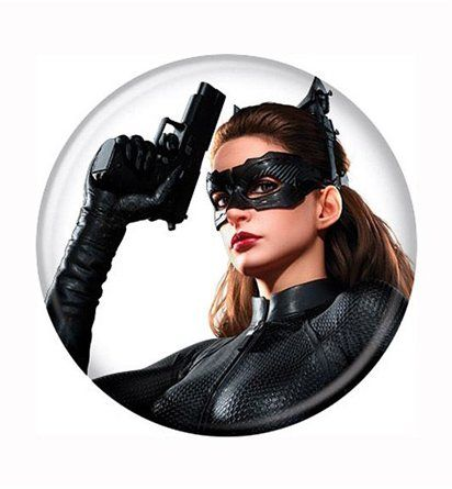 The Dark Knight Rises Catwoman Gun Up Button is adorned with an image of Catwoman prepared for the worst, taken from the hit film, Dark Knight Rises! Buy it!