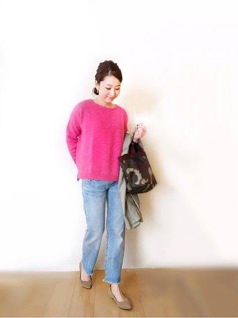 ビビッドなフューシャピンクで着こなしを鮮やかに 大人の華やかMIXコーデ - Peachy - ライブドアニュース ピンクニット コーディネート pink knit tops sweater outfit style coordinate