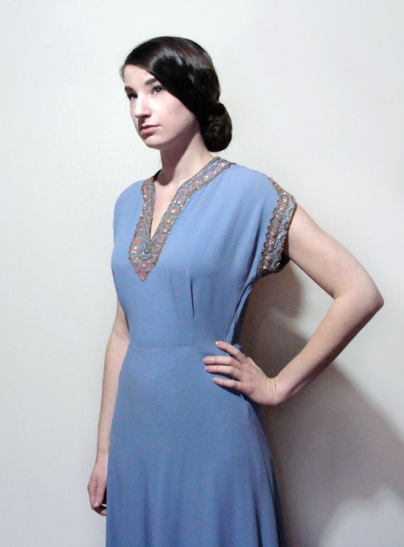 40's Holt Renfrew Sequined Crepe Gown Periwinkle by Fabstract