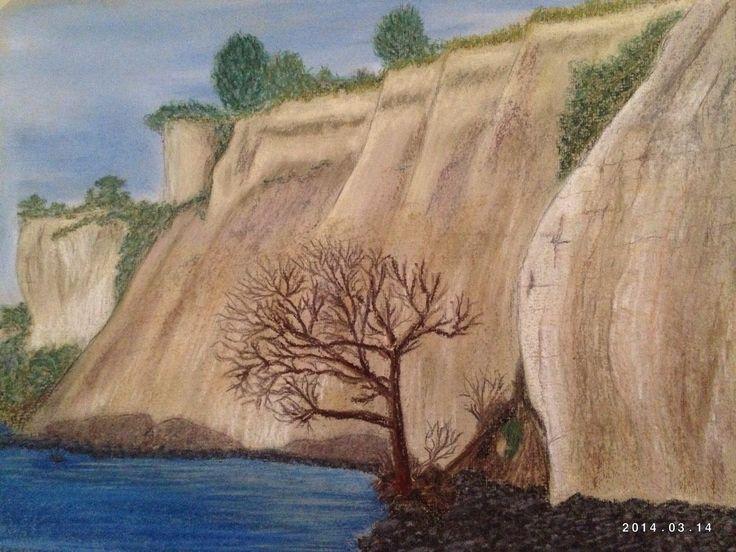 Stevns Klint Denmark, Soft pastel on paper 24x30 cm. Copyright Sandy Rosenvinge Lundbye