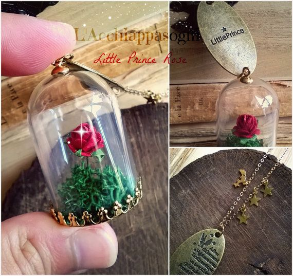 The Little Prince Rose INSPIRED Necklace - Rose in a Jar - Glass Dome - 18k gold plated brass chain - Le Petit Prince - fox charm - planet