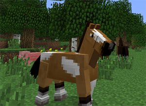 The best game ever (Minecraft) has horses!!