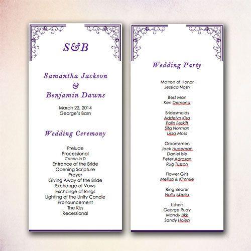 DIY Wedding Programs Templates