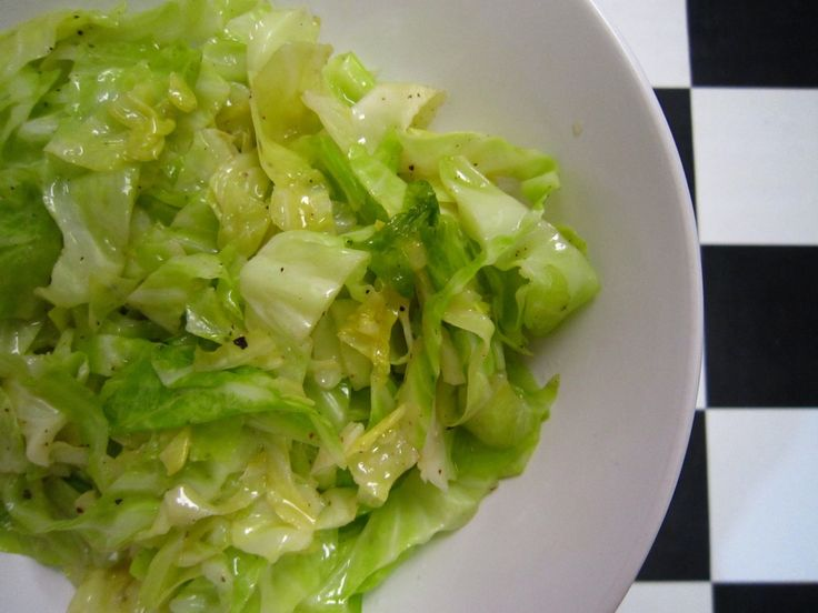 Buttered Cabbage  I added chives, garlic, and basil! Yummm...