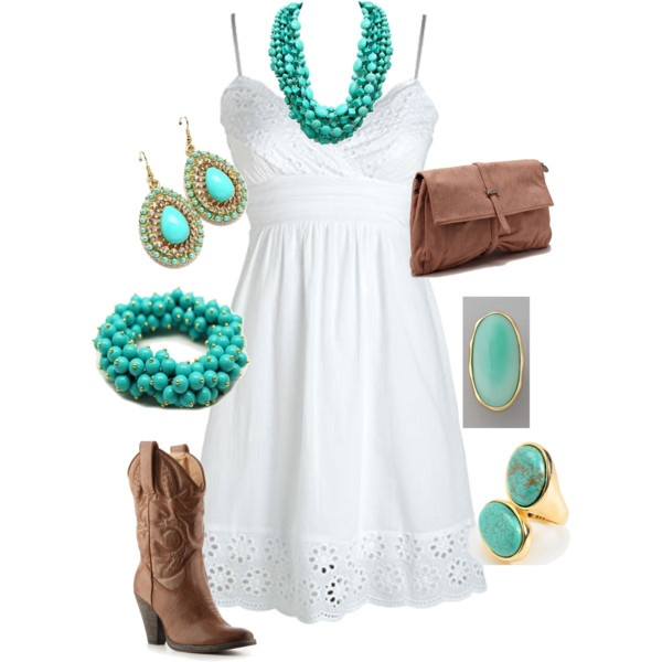 """Boots & Turquoise"" - love this, but would never be able to pull it off!: Concerts, Cowgirl Boots, Outfits, Style, Clothing, Country Girls, Cowboys Boots, The Dresses, White Dresses"