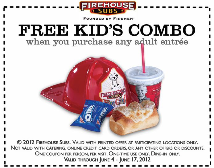 FREE kids combo with yours at Firehouse Subs