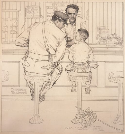 Norman Rockwell pencil study for 'The Runaway' from George Lucas and Steven Spielberg Collection