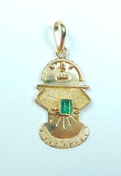 Colombian Emerald Pendant 0.14 Cts Square  Shape 18K Y Gold Fine Jewelry Muzo #HandmadeByCeCi #Pendant