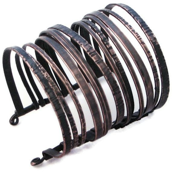 Copper Cuff Bracelet - Blackened Layered Bangles Bracelet