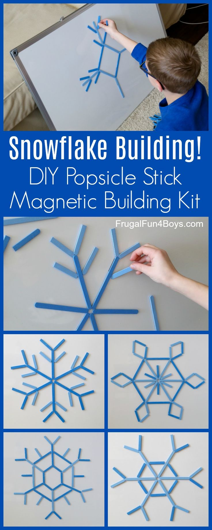Make a DIY Popsicle Stick Snowflake Building Kit - Fun winter themed STEM activity for kids