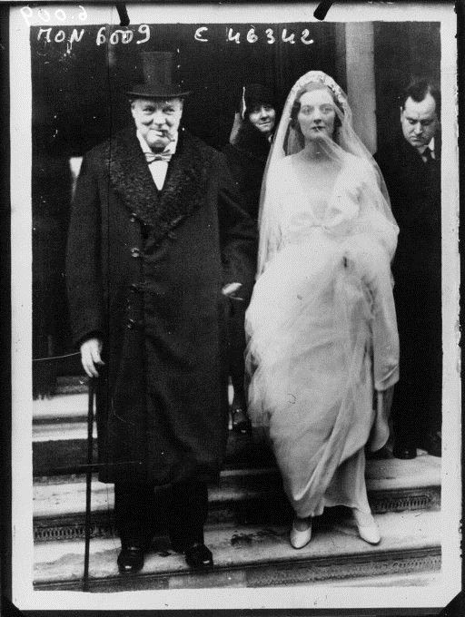 Mr. Winston Churchill accompanying his daughter Miss Diana Churchill to church for her wedding by Planet News, 1932. Public Domain
