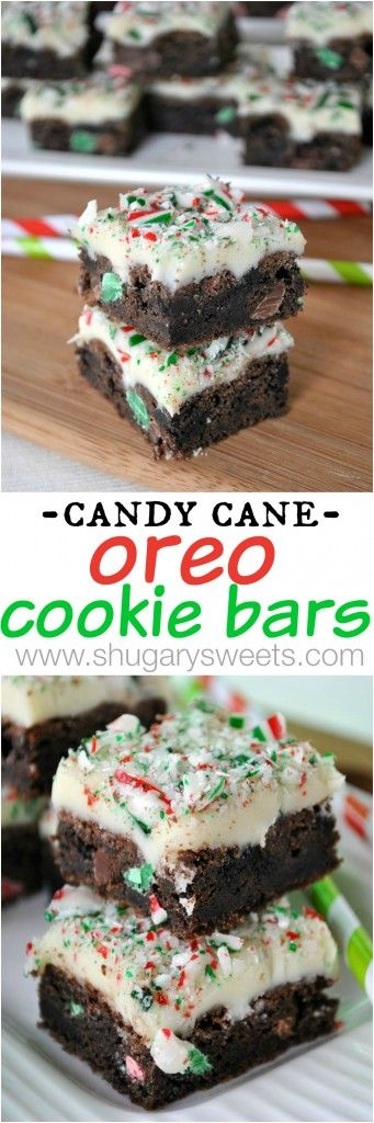 Christmas Candy Cane Oreo Cookie Bars: made with holiday oreos and a white chocolate fudge with crushed candy canes!