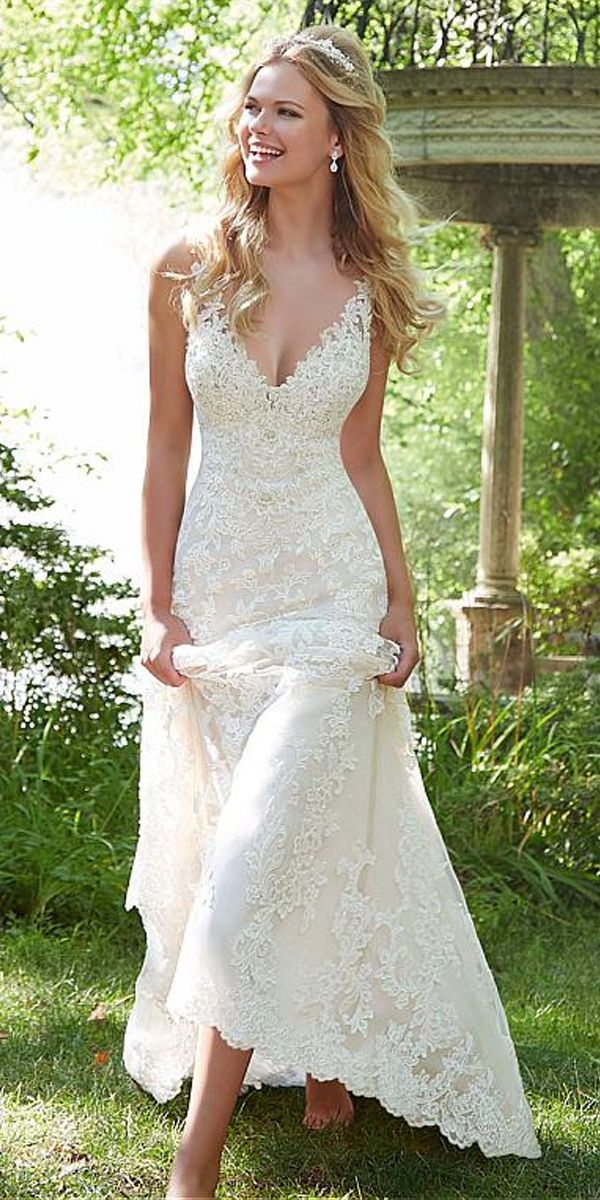 [285.59] Gorgeous Tulle V-neck Neckline Mermaid Wedding Dresses With Beaded Lace Appliques