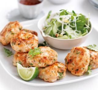 Prawn and fish cakes with noodle salad   Australian Healthy Food Guide