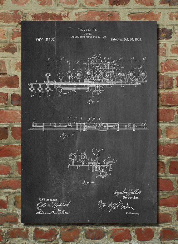 Flute Poster Flute Patent Flute Print Flute Art by PatentPrints