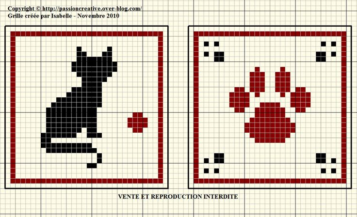 chat - cat - empreinte - point de croix - cross stitch - Blog : http://broderiemimie44.canalblog.com/