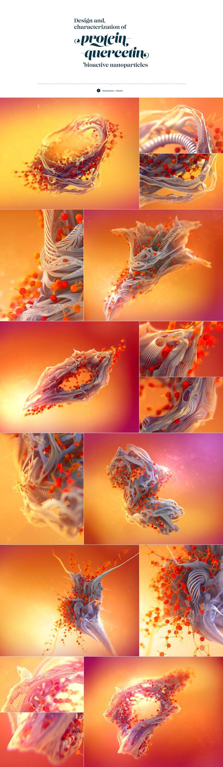 Science report Protein Quercetin with fractal illustrations #fractal #prints #brochure #illustration