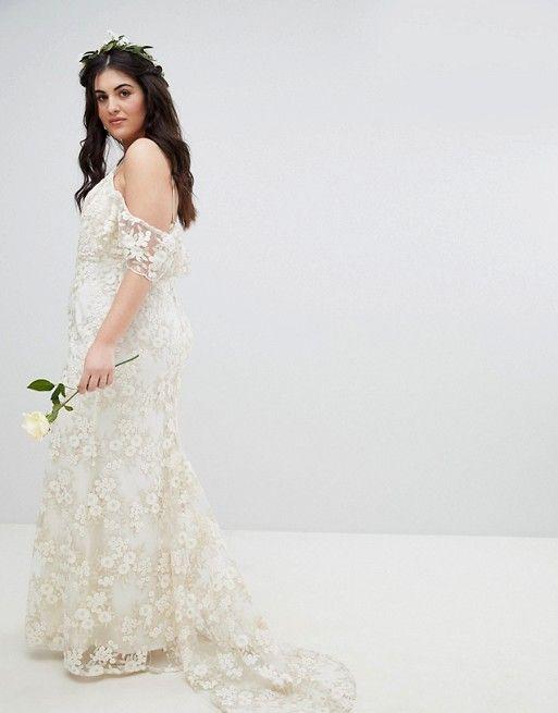 29064567e3c EDITION Curve Floral Lace Bandeau Maxi Wedding Dress