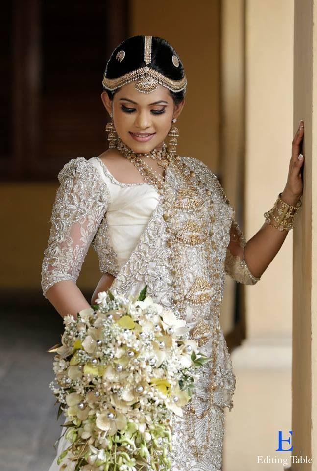White Saree Wedding Sarees Bridal Makeup Flower Bouquets Indian Fashion Parties Brides Asia Belle