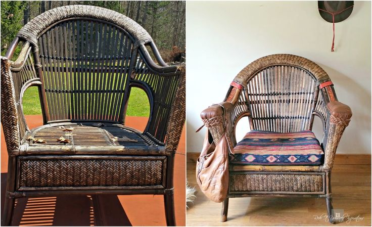 furniture upcycle, wicker, rattan, Chair Makeover, DIY, southwestern, Adirondack furniture,