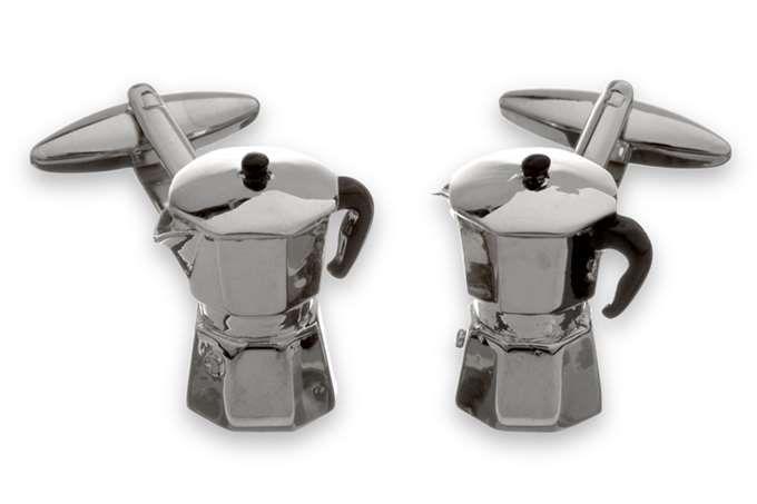 GEMELOS CAFETERA ITALIANA - Tienda de gemelos en rodio y plata para hombre. Gemelos divertidos y originales, clasicos y elegantes.