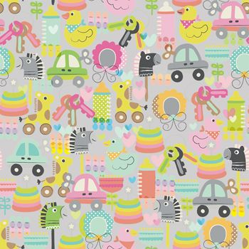 """'Play' gift wrap comes on premium silver foil paper! Available in 24"""" and 30"""" widths.  #baby #giftwrap #gifts"""