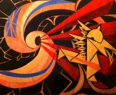 definición de futurismo llevada a la vanguardia, asociado a la literatura, pinturas y teatro.