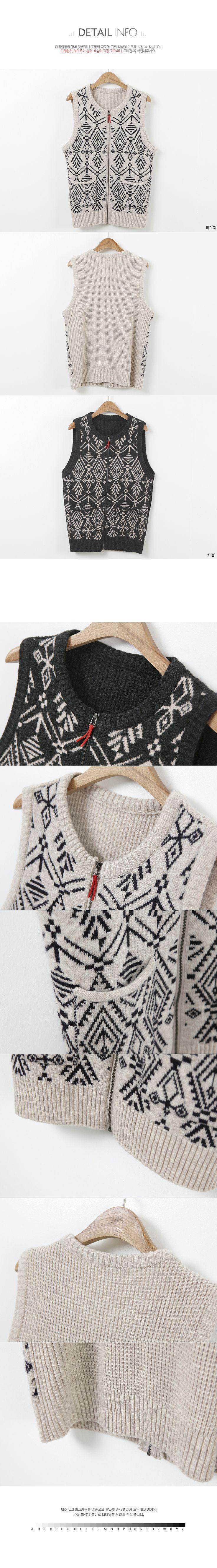 韓国女性服ショッピングモール、さまざまなテーマでご用意しました。 [JOAMOM] 婦人服通販レディースファッション アウター ヴェスト 雪花ファスナーニットベストJV0038