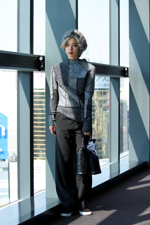 Street Style of Tokyo: Una in G.V.G.V. Knitwear, MURUA Pants, NIKE Shoes, and G.V.G.V. Hat   Fashionsnap.com
