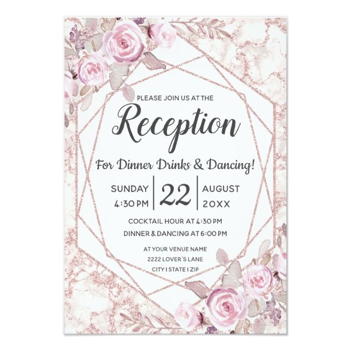 Blush Marble Geometric Floral Wedding Reception Invitation