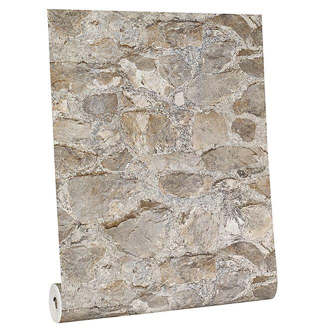 York Stone Wallpaper 33 Gray And Tan Rona Gray Rona Stone Tan Wallpaper York In 2020 Stone Wallpaper York Stone Dry Stone Wall
