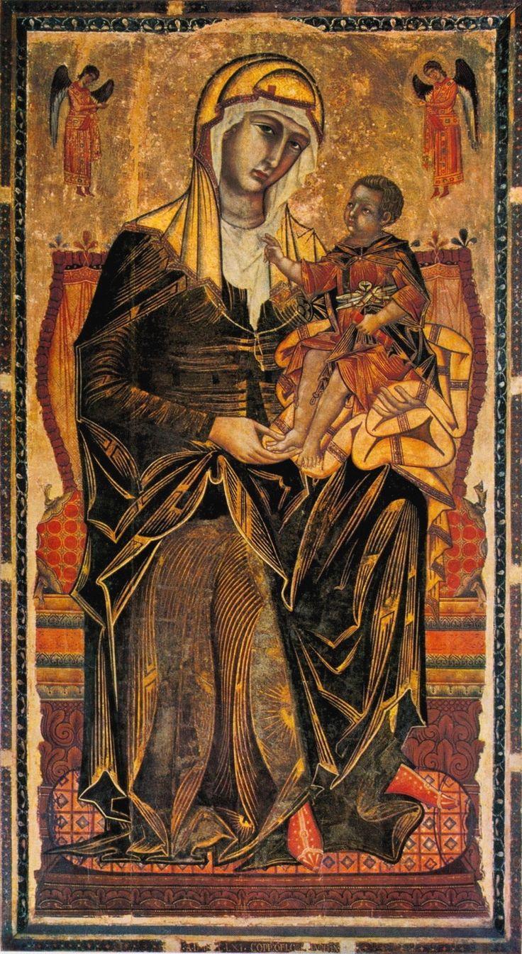 «Мадонну с младенцем», так называемую «Мадонну дель Бордоне», единственную подписанную работу художника Коппо ди Марковальдо, созданную им в 1261 году в византийском стиле, и впоследствии частично дописанную его великими учеником Дуччо ди Буонинсенья.