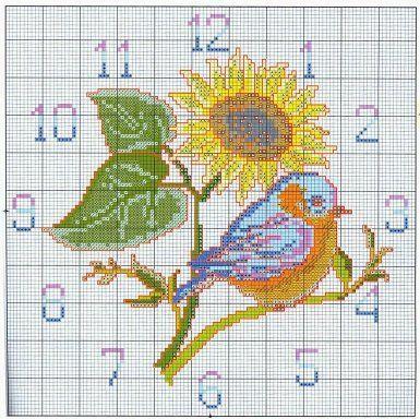 Sunflower & Bird Clock Cross Stitch Chart