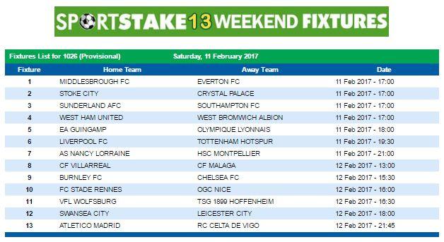 #SportStake13 Weekend Fixtures - 11 February 2017