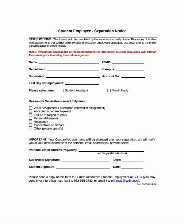 40 Employment Separation Notice Template In 2020 Templates Good