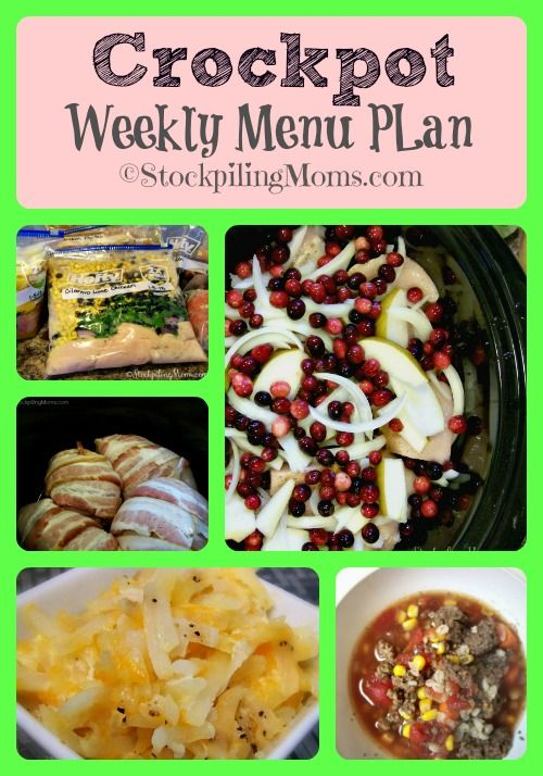 Here is a great weekly menu plan using nothing but your Crockpot!