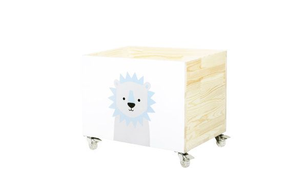 Toy chest, nursery toy box, toy bin storage, toy hope crate Lion. Hand painted kids furniture. Wooden, on wheels, casters. 100% hand made.