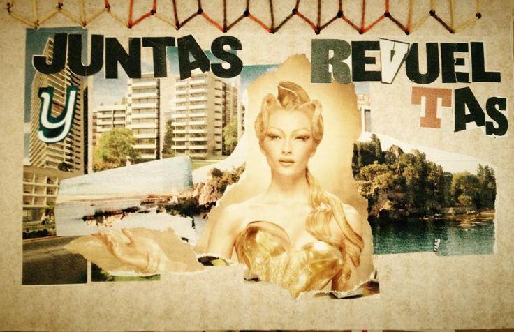 Editorial cartonera   collage   Portada para Juntas y Revueltas, poemario de LIz Gallegos y Victoria Ramírez