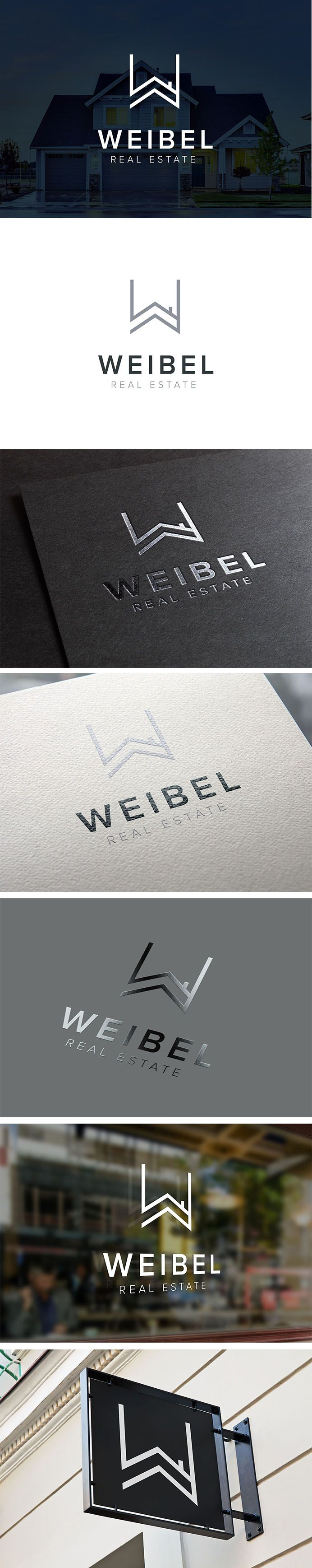 Real Estate Logo Design, Property Management Brand Identity  |  Letter W, mark, roof, villa, house, development  |  Weibel Real Estate, Geneva Switzerland  |  Valhalla Creative Design, Perth