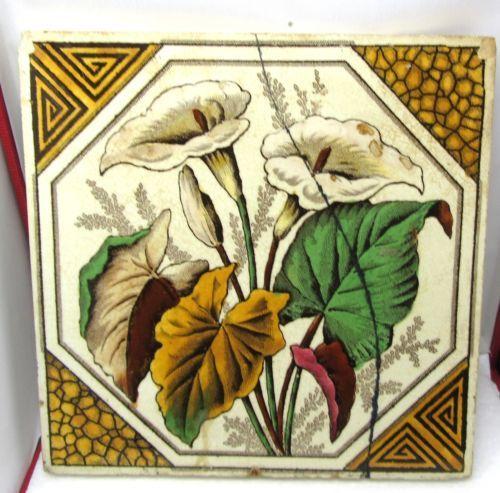 Antique victorian Flores Telha este está rachada