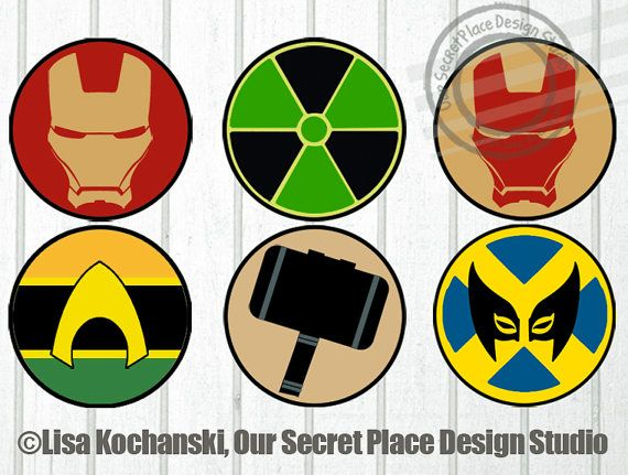 4 Printable Superhero Logo Stickers Superhero Symbols Superhero Stickers Superhero Party Decor by OurSecretPlace