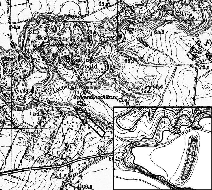 Схема городища шведеншанце у Латайнерберга