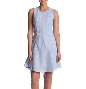 Nina Leonard Seersucker Dress